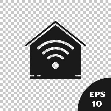 Black Smart home with wifi icon isolated on transparent background. Remote control. Vector Illustration