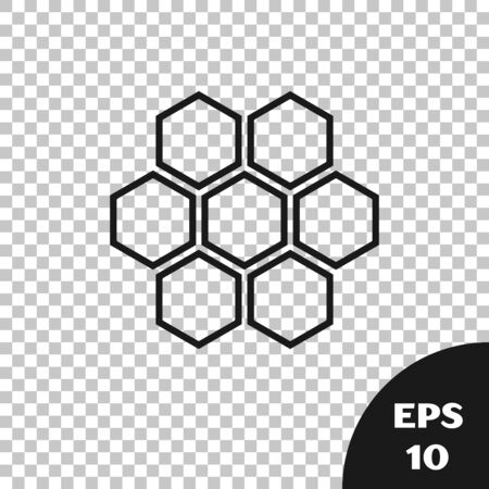 Black Honeycomb icon isolated on transparent background. Honey cells symbol. Sweet natural food. Vector Illustration 일러스트