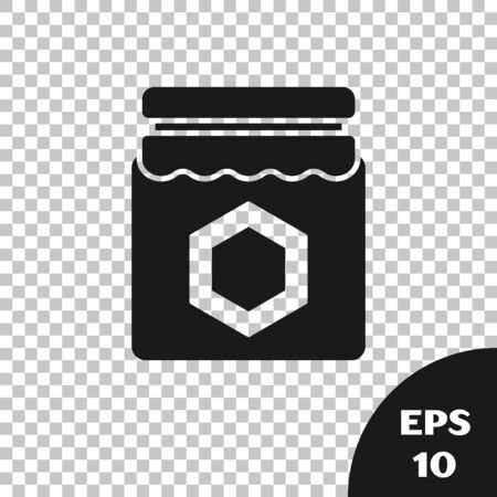 Black Jar of honey icon isolated on transparent background. Food bank. Sweet natural food symbol. Vector Illustration Illusztráció