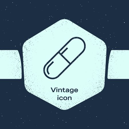 Grunge line Medicine pill or tablet icon isolated on blue background. Capsule pill and drug sign. Pharmacy design. Monochrome vintage drawing. Vector Illustration 일러스트