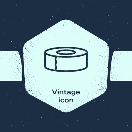 Grunge line Scotch icon isolated on blue background. Roll of adhesive tape for work and repair. Sticky packing tape. Office tool and stuff. Monochrome vintage drawing. Vector Illustration