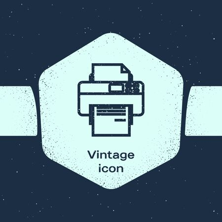 Grunge line Printer icon isolated on blue background. Monochrome vintage drawing. Vector Illustration