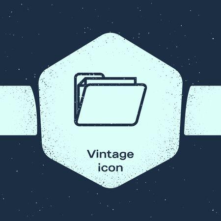 Grunge line Document folder icon isolated on blue background. Accounting binder symbol. Bookkeeping management. Monochrome vintage drawing. Vector Illustration