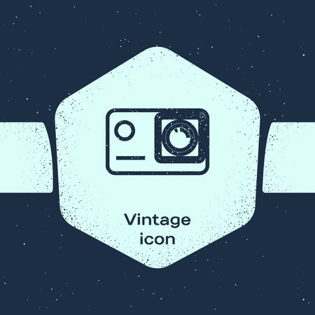 Grunge line Action extreme camera icon isolated on blue background. Video camera equipment for filming extreme sports. Monochrome vintage drawing. Vector Illustration Иллюстрация