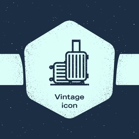 Grunge line Suitcase for travel icon isolated on blue background. Traveling baggage sign. Travel luggage icon. Monochrome vintage drawing. Vector Illustration 向量圖像