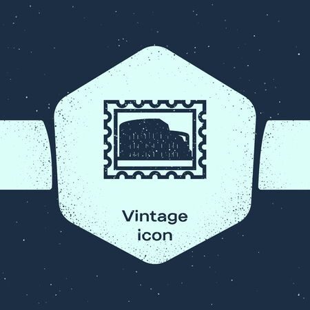 Grunge line Postal stamp and Coliseum icon isolated on blue background. Colosseum sign. Symbol of Ancient Rome, gladiator fights. Monochrome vintage drawing. Vector Illustration Illustration