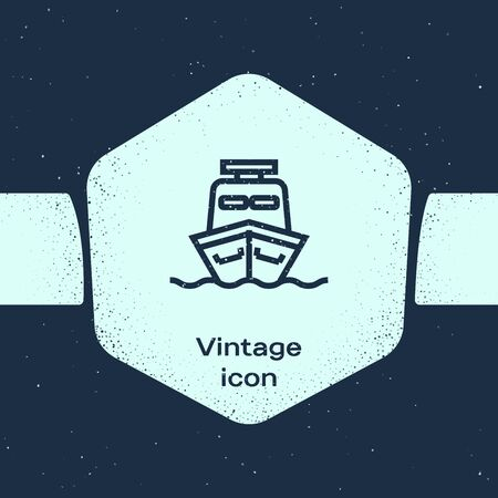 Grunge line Ship icon isolated on blue background. Monochrome vintage drawing. Vector Illustration