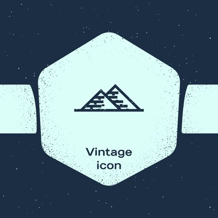 Grunge line Egypt pyramids icon isolated on blue background. Symbol of ancient Egypt. Monochrome vintage drawing. Vector Illustration