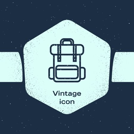 Grunge line Hiking backpack icon isolated on blue background. Camping and mountain exploring backpack. Monochrome vintage drawing. Vector Illustration