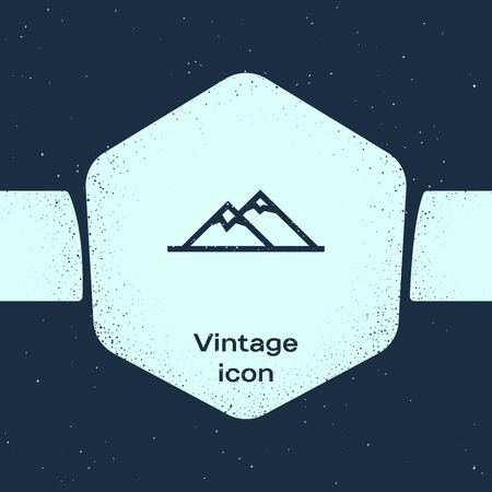 Grunge line Mountains icon isolated on blue background. Symbol of victory or success concept. Monochrome vintage drawing. Vector Illustration