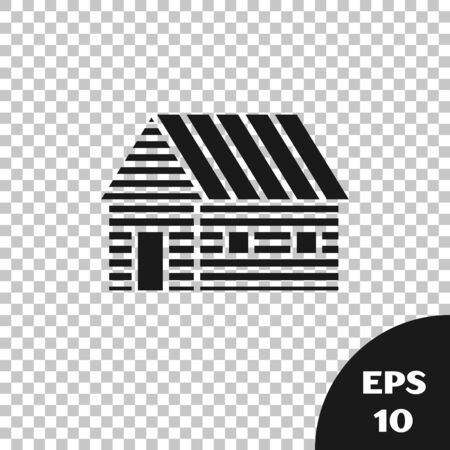 Black Farm house icon isolated on transparent background. Vector Illustration