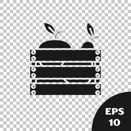 Black Wooden box for fruits and vegetables icon isolated on transparent background. Vector Illustration