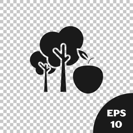 Black Tree with apple icon isolated on transparent background. Agricultural plant. Organic farm product. Gardening theme. Vector Illustration 일러스트