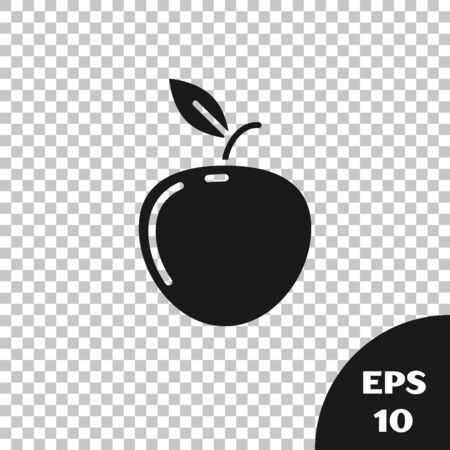 Black Apple icon isolated on transparent background. Fruit with leaf symbol. Vector Illustration  イラスト・ベクター素材