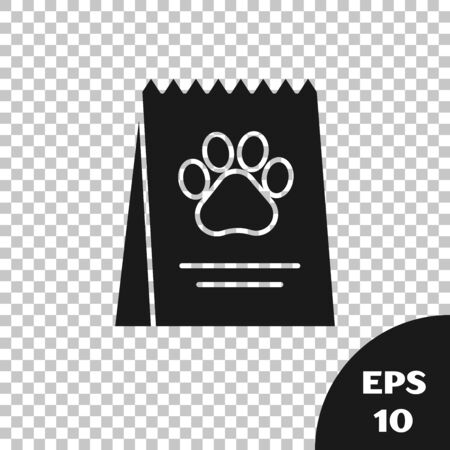 Black Bag of food for dog icon isolated on transparent background. Dog or cat paw print. Food for animals. Pet food package. Vector Illustration Illustration