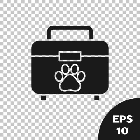 Black Pet first aid kit icon isolated on transparent background. Dog or cat paw print. Clinic box. Vector Illustration