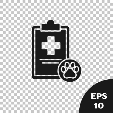Black Clipboard with medical clinical record pet icon isolated on transparent background. Health insurance form. Medical check marks report. Vector Illustration  イラスト・ベクター素材