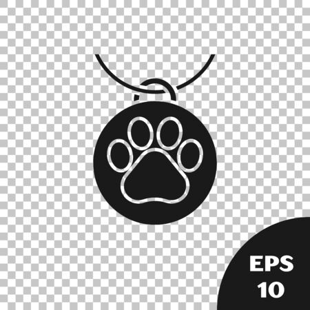 Black Collar with name tag icon isolated on transparent background. Supplies for domestic animal. Dog or cat paw print. Cat and dog care. Pet chains. Vector Illustration