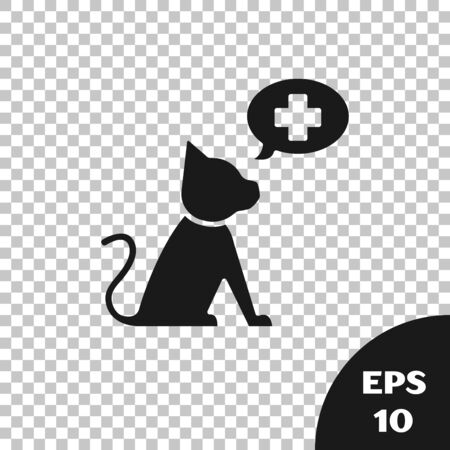 Black Veterinary clinic symbol icon isolated on transparent background. Cross with cat veterinary care. Pet First Aid sign. Vector Illustration Stock Illustratie
