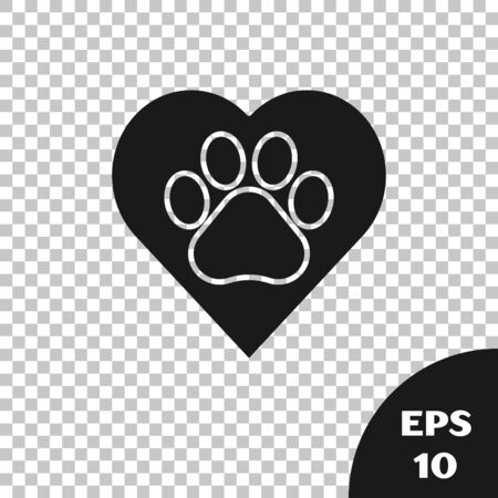 Black Heart with animals footprint icon isolated on transparent background. Pet paw in heart. Love to the animals. Vector Illustration 일러스트