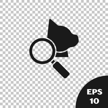 Black Veterinary clinic symbol icon isolated on transparent background. Magnifying glass with cat veterinary care. Pet First Aid sign. Vector Illustration Stock Illustratie