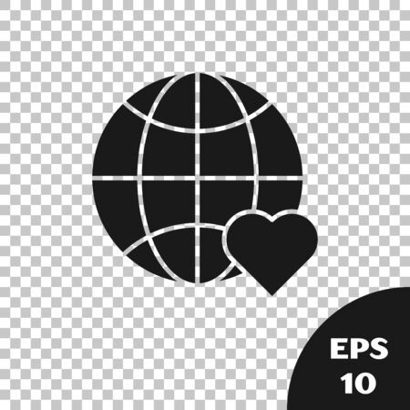 Black The heart world - love icon isolated on transparent background. Vector Illustration