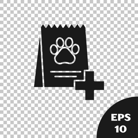 Black Bag of food for dog icon isolated on transparent background. Dog or cat paw print. Food for animals. Pet food package. Vector Illustration Stock Illustratie