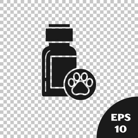 Black Dog medicine bottle icon isolated on transparent background. Container with pills. Prescription medicine for animal. Vector Illustration