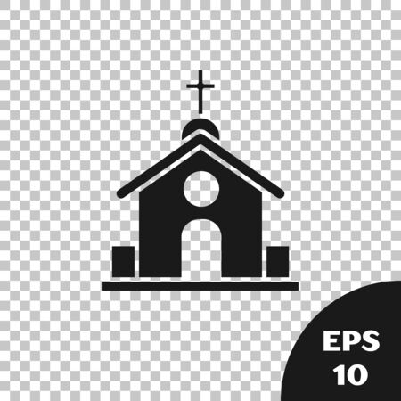 Black Church building icon isolated on transparent background. Christian Church. Religion of church. Vector Illustration Stock Illustratie