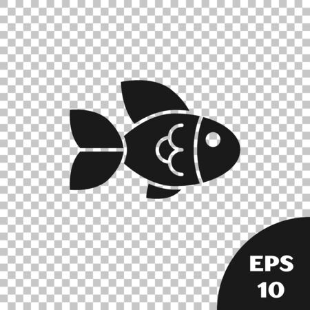 Black Fish icon isolated on transparent background. Vector Illustration