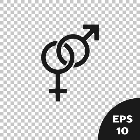 Black Gender icon isolated on transparent background. Symbols of men and women. Sex symbol. Vector Illustration