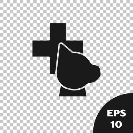 Black Veterinary clinic symbol icon isolated on transparent background. Cross with dog veterinary care. Pet First Aid sign. Vector Illustration Stock Illustratie