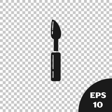 Black Cutter tool icon isolated on transparent background. Sewing knife with blade. Vector Illustration Ilustração