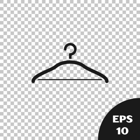 Black Hanger wardrobe icon isolated on transparent background. Cloakroom icon. Clothes service symbol. Laundry hanger sign. Vector Illustration