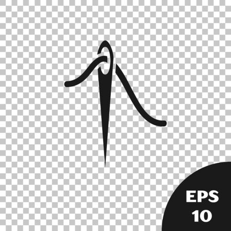 Black Needle for sewing with thread icon isolated on transparent background. Tailor symbol. Textile sew up craft sign. Embroidery tool. Vector Illustration