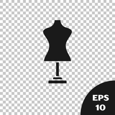 Black Mannequin icon isolated on transparent background. Tailor dummy. Vector Illustration Ilustração