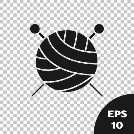 Black Yarn ball with knitting needles icon isolated on transparent background. Label for hand made, knitting or tailor shop. Vector Illustration Ilustração