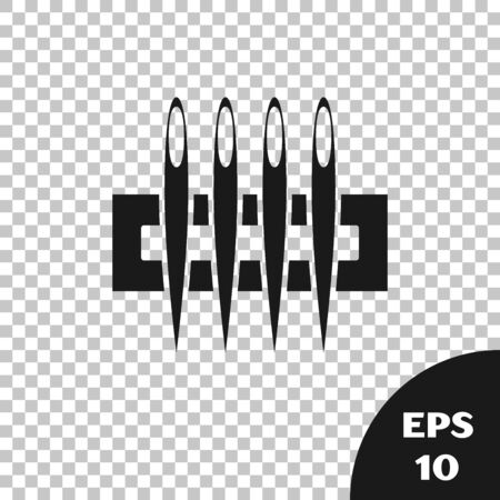 Black Needle for sewing icon isolated on transparent background. Tailor symbol. Textile sew up craft sign. Embroidery tool. Vector Illustration
