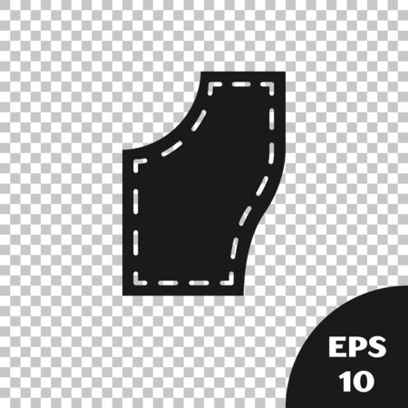 Black Sewing Pattern icon isolated on transparent background. Markings for sewing. Vector Illustration Ilustração