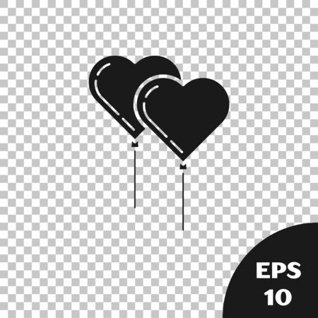 Black Balloons in form of heart with ribbon icon isolated on transparent background. Vector Illustration