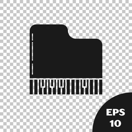 Black Grand piano icon isolated on transparent background. Musical instrument. Vector Illustration