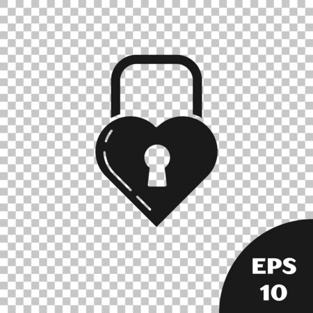 Black Castle in the shape of a heart icon isolated on transparent background. Locked Heart. Love symbol and keyhole sign. Vector Illustration