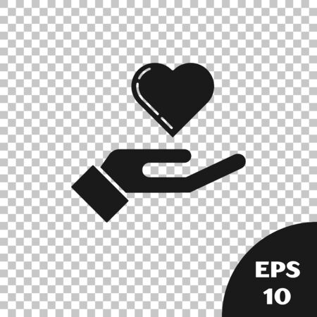 Black Heart on hand icon isolated on transparent background. Hand giving love symbol. Vector Illustration