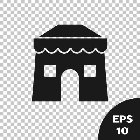 Black Circus tent icon isolated on transparent background. Carnival camping tent. Amusement park. Vector Illustration