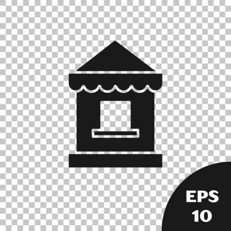 Black Ticket box office icon isolated on transparent background. Ticket booth for the sale of tickets for attractions and sports. Vector Illustration