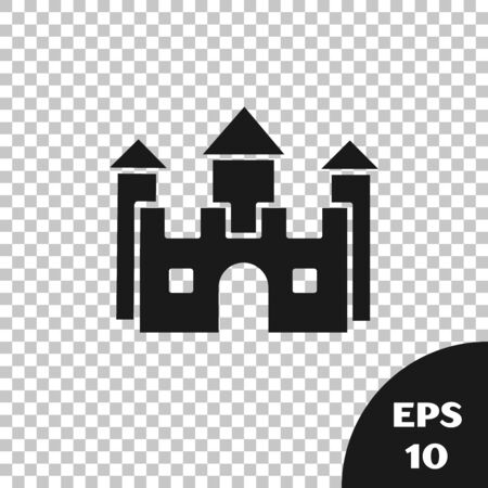 Black Castle icon isolated on transparent background. Vector Illustration