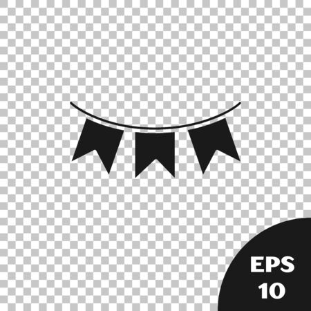Black Carnival garland with flags icon isolated on transparent background. Party pennants for birthday celebration, festival and fair decoration. Vector Illustration 向量圖像