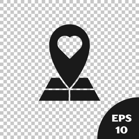Black Map pointer with heart icon isolated on transparent background. Valentines day. Love location. Romantic map pin. Vector Illustration