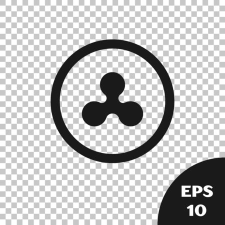Black Cryptocurrency coin Ripple XRP icon isolated on transparent background. Altcoin symbol. Blockchain based secure crypto currency. Vector Illustration Illustration