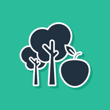 Blue Tree with apple icon isolated on green background. Agricultural plant. Organic farm product. Gardening theme. Vector Illustration